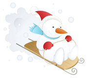 Funny and Cute Snowman - Christmas Vector Illustration. Drawing Art of Cute Happy Christmas Snowman Skiing on Ice Skate Board Vector Illustration royalty free illustration