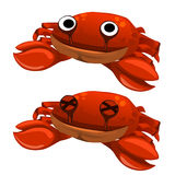 Funny cute soft toy red crab isolated. Vector Royalty Free Stock Photography