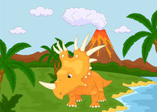 Funny cute styracosaurus on the background of a prehistoric natu Royalty Free Stock Images