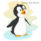 Funny and cute surprised little penguin. Merry Christmas and Happy New year card. Christmas card in cartoon style Royalty Free Stock Photo