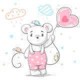 Funny, cute teddy bear - cartoon illustration. stock illustration