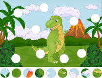 Funny cute tyrannosaurus on the background of a prehistoric natu Stock Photo