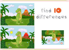 Funny cute tyrannosaurus on the background of a prehistoric natu Stock Images