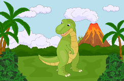 Funny cute tyrannosaurus on the background of a prehistoric natu Stock Image