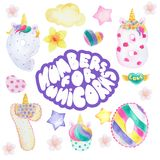 Cartoon figures for a unicorn party. Funny cute unicorn numbers. Colorful numbers for mathematics and kids illustration and birthday Royalty Free Stock Images