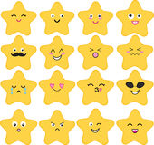 Funny, cute vector set of 16 kawaii stars. Stock Photo