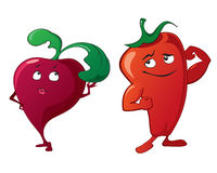 Funny cute vegetables - beet, pepper Stock Photo