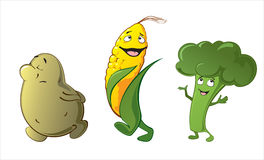 Funny cute vegetables - potato, corn, broccoli Royalty Free Stock Photos