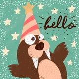 Funny, cute walrus. Happy birthday illustration. Idea for print t-shirt. royalty free illustration