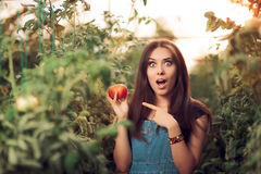 Surprised Farm Girl Holding a Tomato inside a Greenhouse Royalty Free Stock Photo