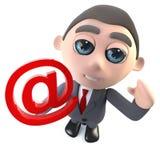 Funny 3d cartoon businessman character holding an email address symbol internet. Render of a funny 3d cartoon businessman character holding an email address vector illustration