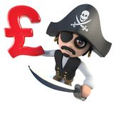Funny 3d cartoon pirate captain holding a UK Pounds Sterling currency symbol. 3d Render of a funny cartoon pirate captain holding a UK Pounds Sterling currency vector illustration