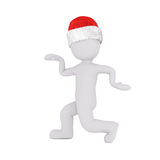 Funny 3D figure in strutting pose over white. Isolated funny 3D figure dressed in red and white Santa hat while doing a strutting pose Stock Photography