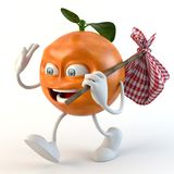 Funny 3d fruit character with bindle vector illustration