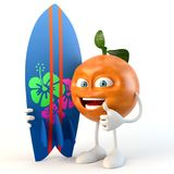 Funny 3d fruit character with surf board stock illustration