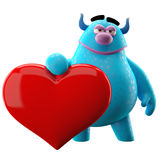 Funny 3D monster, funny love mascot with a heart. 3D love cuddly cartoon character with big red heart Stock Image