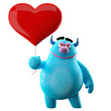 Funny 3D monster, funny love mascot with a heart. 3D love cuddly cartoon character with big red heart Royalty Free Stock Images