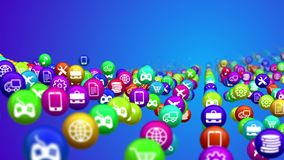 Social media news balls. A funny 3d rendering of multicolored social media news balls in the blue background. They are covered with different services symbols Stock Image
