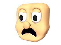Funny 3D sad head icon of cartoon character. Royalty Free Stock Photo