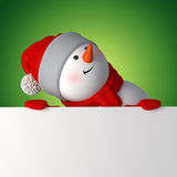 Funny 3d snowman holding white page Stock Photo