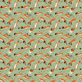 Funny dachshunds playing with insects seamless pattern. Happy smart vector dogs wallpaper Royalty Free Stock Image