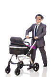 The funny dad with baby and pram on white Stock Image