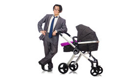 Funny dad with baby and pram on white Royalty Free Stock Photo