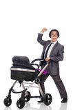 Funny dad with baby and pram on white Royalty Free Stock Images