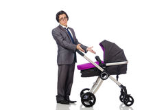 Funny dad with baby and pram on white Royalty Free Stock Image