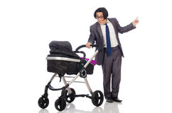 The funny dad with baby and pram on white Royalty Free Stock Photography