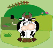 Funny dairy cow with golden earring. Illustration of a funny dairy cow with golden earring Stock Image