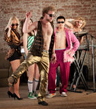 Funny Dancing. At a 1970s Disco Music Party Royalty Free Stock Photography