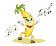 Funny Dancing Banana. Vector illustration of very cute banana. Banana is dancing and singing Royalty Free Stock Photography