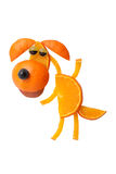 Funny dancing dog made of orange Stock Photos
