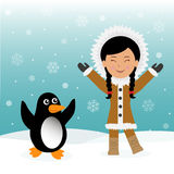 Funny dancing Eskimos and penguins. Concept background trip to Greenland Stock Image