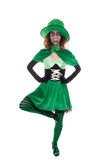 Funny dancing goblin girl, isolated on white, concept ireland an Royalty Free Stock Images