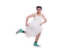 Funny dancing man wearing Royalty Free Stock Photos