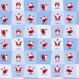 Funny dancing Santa Claus in cute cartoon style. Seamless background. Vector illustration Royalty Free Stock Photo