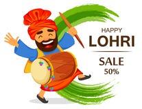 Funny dancing Sikh man with drum celebrating holiday. Popular winter Punjabi folk festival Lohri. Funny dancing Sikh man with drum celebrating holiday, cartoon Stock Image