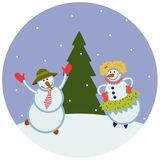 Funny dancing snowmen. In the snow Stock Image
