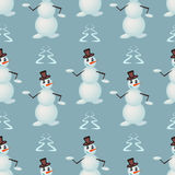 Funny dancing snowmen Royalty Free Stock Photography