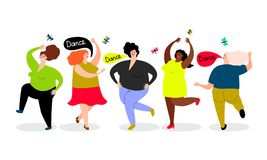Funny dancing women set. Funny dancing woman cartoon icons set on white background, vector illustration stock illustration