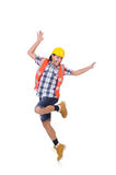 Funny dancing young construction worker isolated Royalty Free Stock Photo