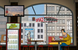 A funny day at Internet-Cafe (Daytime) Royalty Free Illustration