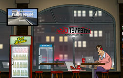 A funny day at Internet-Cafe (Nighttime) Royalty Free Stock Photos