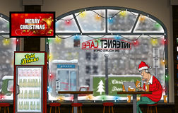 A funny day at Internet-Cafe (Wintertime) Stock Illustration