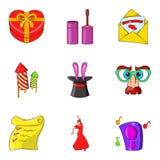 Funny days icons set, cartoon style. Funny days icons set. Cartoon set of 9 funny days vector icons for web isolated on white background Royalty Free Stock Photos