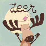 Funny dear with bird. Bird song. stock illustration