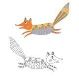 Funny decorative fox. Vector illustration Stock Photo