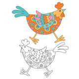 Funny decorative hen. Vector illustration Royalty Free Stock Images